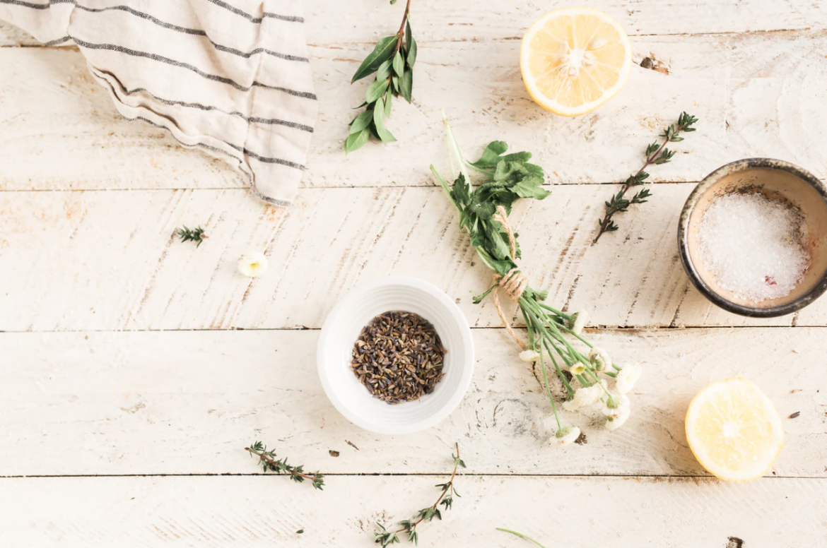 Herbs, Oils, and Pine Needles